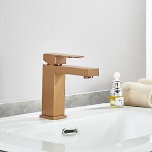 Square Bathroom Brass Basin Mixer Tap Vanity Flick Faucet COPPER WaterMark