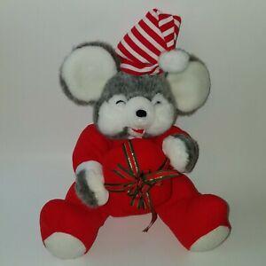 "VTG Fiesta 11"" Gray Christmas Mouse With Gift Box Plush Stuffed Animal Toy 1989"