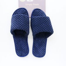 WOMENS NAVY BLUE VELOUR MEMORY FOAM SANDAL SLIPPERS BY SLEEP LOUNGE SIZE 3-4