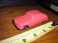 "Rare Vintage 1/43 ? 3 5/8"" Rubber soft like Foreign sedan car red"
