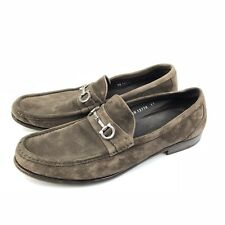 Ferragamo Mens Brown Suede Leather Horse Bit Loafers Italy Slip on Shoes 11 D