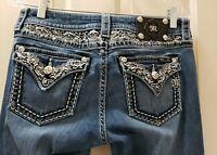 Miss Me Signature Boot Denim Jeans. Size 29 Rise 8 Waist 16=32X33  Stretch