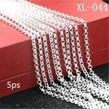 5PCS 30inch 925 Silver Pearl Cross Chain Necklace Accessory Jewelry Necklace