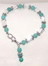 "#7910 White ""Healing Magnetic Hematite"" & Green Agate w/Silver Cap Bracelet"
