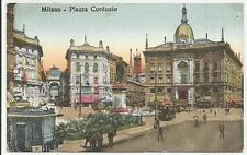 antica cartolina di milano  con tram piazza cordusio e persone