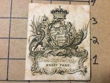 vintage paper -- v early BOOKPLATE -- THOMAS PHILIP EARL de GREY - WREST PARK