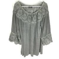 VICI Tunic Shirt SIze Medium Gray Bell Sleeve Boho Womens