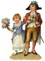 Vintage Victorian die cut paper scrap, Rococo couple with flowers from c. 1880
