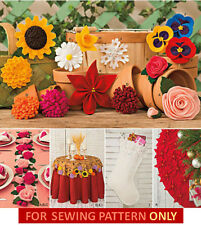 SEWING PATTERN! MAKE FABRIC FLOWERS! EASTER~CHRISTMAS~WEDDING~DECORATIONS~GIFTS!