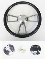 "1960 - 1963 1/2 Comet Falcon Carbon Fiber and Billet Steering Wheel 14"""