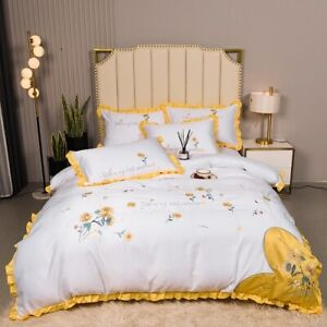 Yellow Floral Embroidery Silk Cotton Bedding Set Cover Set Bed Linen Textile