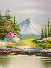 Original Landscape  Painting of Cabin Nestled in the Mountains