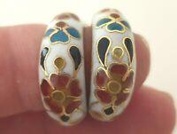 Beautiful Vintage Cloisonne enamel earrings Flowers Hand Made