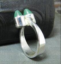 Vintage Kupittaan Kulta Finland Sterling Silver Modernist Ring w Green Stones
