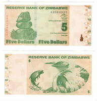 UNC ZIMBABWE $5 Dollar (2009) P-93 from the 4th series = $1 Trillion old dollars
