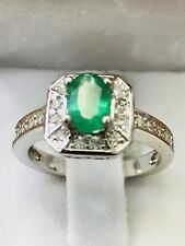 14k White gold Natural Diamond & Colombian Emerald ring May Birthstone halo