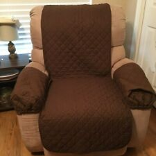 Reversible Recliner Chair Cover Protector 3 Pc Tan/Brown Washable