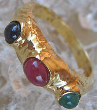 ✯ WoW ✯ Designer Ring in aus 585 Gold mit Rubin Safir Smaragd Edelsteine Emerald