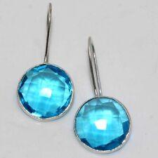 "Handmade Earrings 1.5"" Ethnic Jewelry Gw Blue Topaz 925 Sterling Silver Plated"