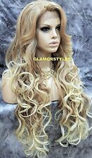 "38"" Long Wavy Layered Medium Blonde Mix Full Lace Front Wig Heat Ok Hair Piece"
