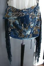 NWT Free People Handbag Cecilia de Bucourt FRINGE Crossbody BLUE Studded $398 !