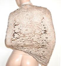 STOLA BEIGE 40% SETA coprispalle scialle donna pizzo foulard ricamo elegante A60