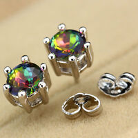 Princess Silver Clear Round Rainbow Topaz Gemstone Ear Studs Earrings Jewelry
