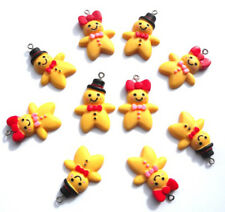 10 GORGEOUS MR & MRS GINGERBREAD MAN MEN CHARMS RESIN APPROX 25-30MM