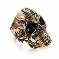 Alien Skull Biker Ring Stainless Steel for Men Punk Gothic Rock Fashion Jewelry