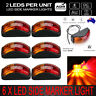 6X Red Amber Clearance Light LED Waterproof Side Marker Lamp For Truck Trailer