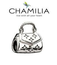 CHAMILIA 925 sterling silver & Swarovski CRYSTAL PURSE charm bead, handbag opens