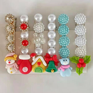 Pack of 6 Christmas Girls Hair Clips Faux Pearl Hairpin Women's Hair Accessories