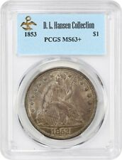 1853 $1 PCGS MS63+ ex: D.L. Hansen - Liberty Seated Dollar - Nice Type Coin