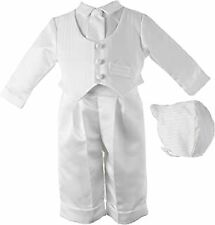 Lauren Madison Baby-Boys Newborn Christening Baptism Satin Long Pant Outfit Set