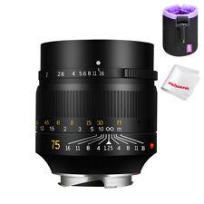 7artisans 75mm F1.25 Full Frame Manual Lens for Leica-M Mount+ Lens Pouch Gift