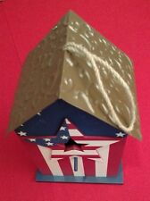 Birdhouses Americana Wooden US Flag Pattern Tin Roof In Outdoor Star Opening New