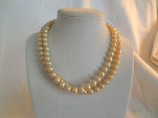 "Vintage two strand faux pearl rhinestone clasp necklace 15.5"" Japan"