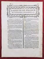 Pontoise en 1767 Franc-maçonnerie Stockholm Suède Château de Bellevue Gazette