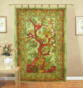 Small Curtain Tree Of Life Design Cotton Fabric Wall Hanging Door Window Drape