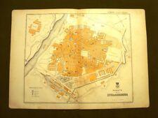 Città di Alessandria Rara mappa o carta geografica del 1890 Gustavo Strafforello