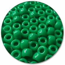 057 - Barrel Pony Beads - Green - Opaque