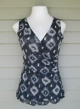 Sweet Pea Womens Lovely Gray Print Sleeveless Ruched crossover Top Shirt  L