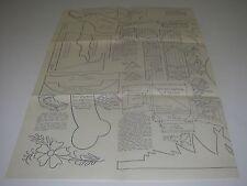 HobbyCraft 1956 Blueprint Pattern Santa Sled Reindeer Dog House Weather Vane.
