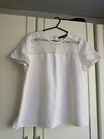 FRENCH CONNECTION WOMENS WHITE TOP PART LACE BLOUSE SIZE 14 SHORT SLEEVE