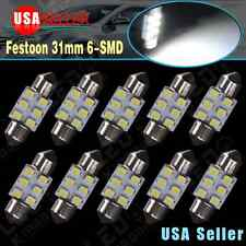 10x Super White 31mm 6-SMD Festoon LED Interior Dome License Plate Lights Bulbs