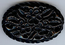 VINTAGE CARVED BLACK BAKELITE CUT OUT FLOWERS OVAL PIN