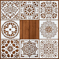 8PCS Mandala Stencil Set Hollow out Painting Card Making Furniture Wall Tile DIY