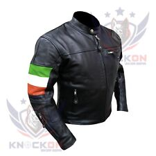 CLASSIC MOTORCYCLE JACKET. 4600 Ireland FLAG Thick Cowhide Coat Armoured Coat