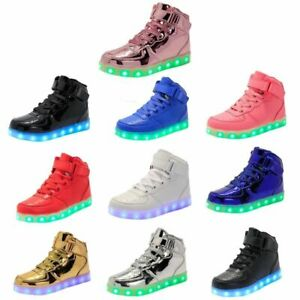 LED USB Light Up High Top Unisex Shoes Trainers Sneakers Flat Luminous Kids Boys