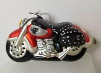 "VINTAGE Department 56 Motorcycle Mercury Glass Christmas Onament NWT Glitzy 6"""